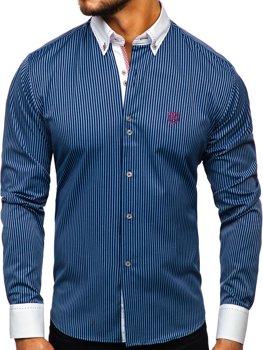 Tmavomodrá pánska prúžkovaná košeľa s dlhými rukávmi Bolf Bolf 9717