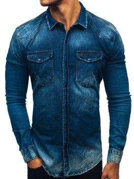 23fc86316ea1 Tmavomodrá pánska riflová košeľa s dlhými rukávmi BOLF 2063