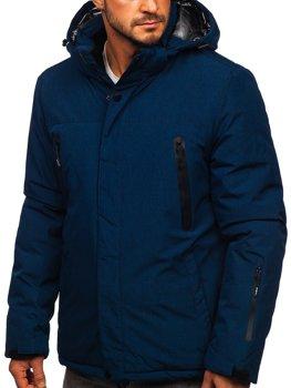 Tmavomodrá pánska športová lyžiarská zimná bunda Bolf 9801