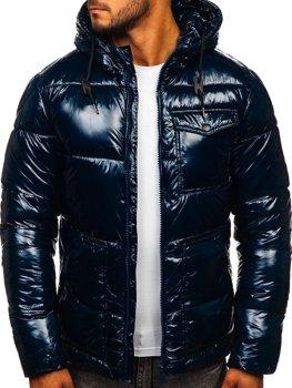 Tmavomodrá pánska športová prešívaná zimná bunda Bolf 973