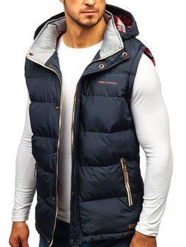 Tmavomodrá pánska vesta s kapucňou BOLF BK142