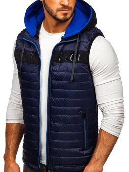 Tmavomodrá pánska vesta s kapucňou Bolf 6101