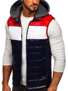 Tmavomodrá pánska vesta s kapucňou Bolf 6105