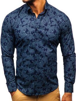 9400e7ffeaeb Tmavomodrá pánska vzorovaná košeľa s dlhými rukávmi BOLF 200G64