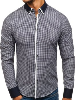 Tmavomodrá pánska vzorovaná košeľa s dlhými rukávmi BOLF 8806