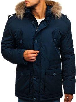 977b58f255be Tmavomodrá pánska zimná bunda Bolf 1633