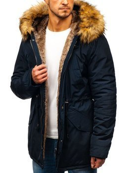 Tmavomodrá pánska zimná bunda parka BOLF 5322