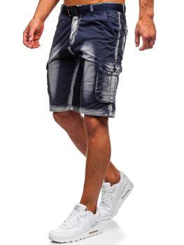 Tmavomodré pánske kapsáčové kraťasy s opaskom Bolf BN241