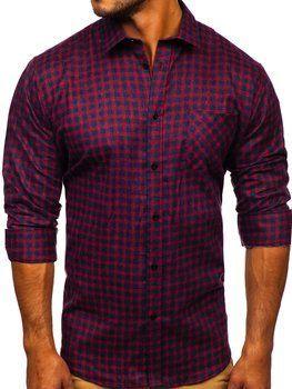 Tmavomodro-červená pánska flanelová košeľa s dlhými rukávmi Bolf F8