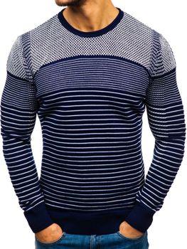 Tmavomodro-čierny pánsky sveter BOLF 1015