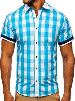 Tyrkysová pánska elegantná károvaná košeľa s krátkymi rukávmi BOLF 8901