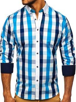 Tyrkysová pánska károvaná košeľa s dlhými rukávmi Bolf 9718