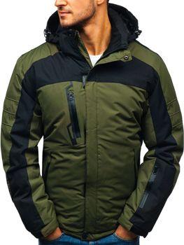93075971f Zelená pánska lyžiarska zimná bunda BOLF HZ8112