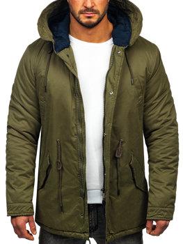 Zelená pánska zimná bunda parka BOLF 1793
