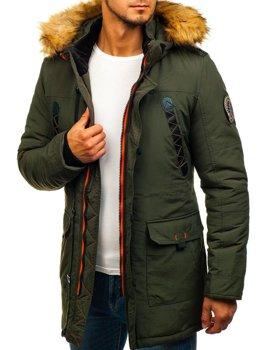 Zelená pánska zimná bunda parka BOLF 5312