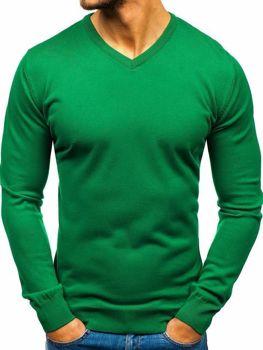 24dbdbd3947ed Zelený pánsky sveter s výstrihom do V BOLF 2200