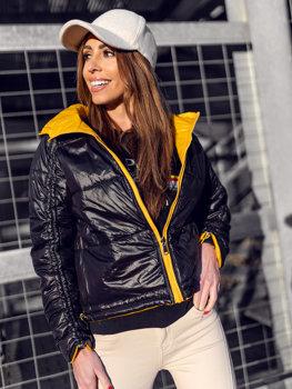 Žltá dámska obojstranná prešívaná zimná bunda s kapucňou Bolf B9553