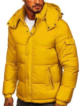 Žltá pánska prešívaná zimná bunda Bolf 1161