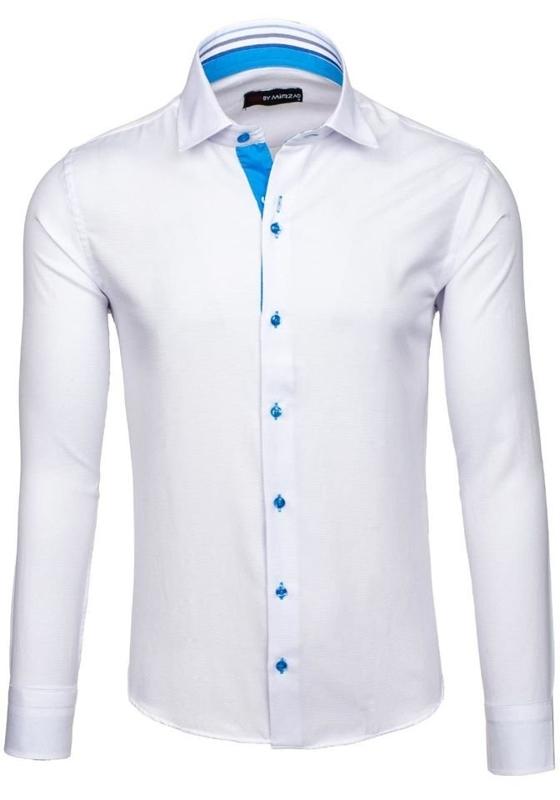 Biela pánska elegantná košeľa s dlhými rukávmi BOLF 6923