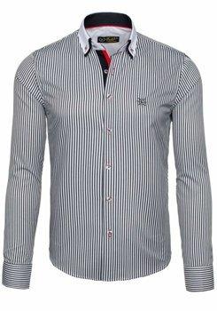 Bielo-čierna pánska elegantná pruhovaná košeľa s dlhými rukávmi BOLF 5758