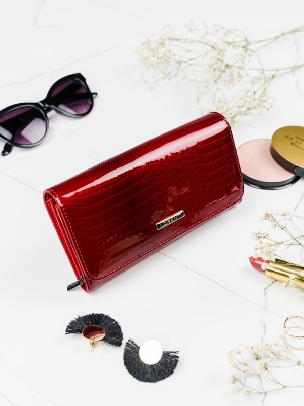 Červená dámska kožená peňaženka 2095