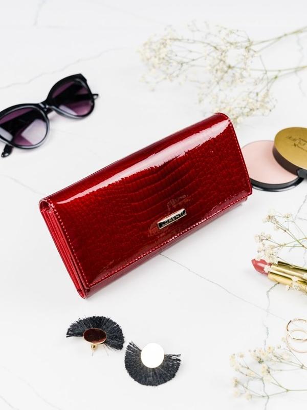 Červená dámska kožená peňaženka 2099