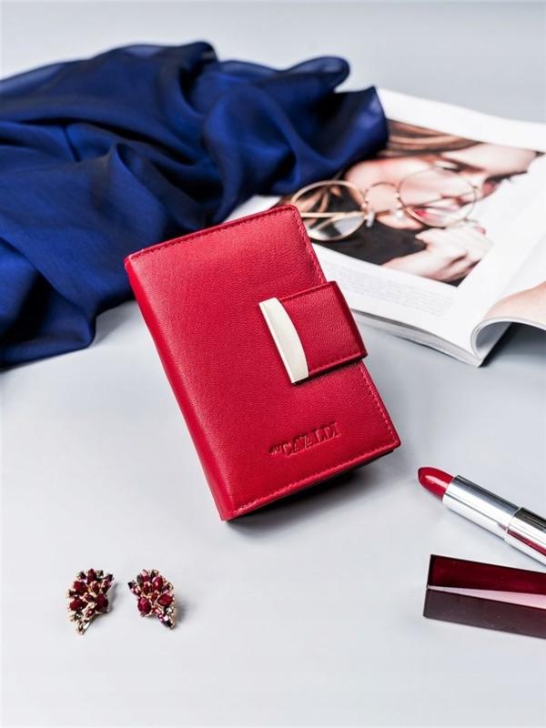 Červená dámska kožená peňaženka 2412