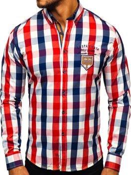 Červená pánska károvaná košeľa s dlhými rukávmi BOLF 1766-1