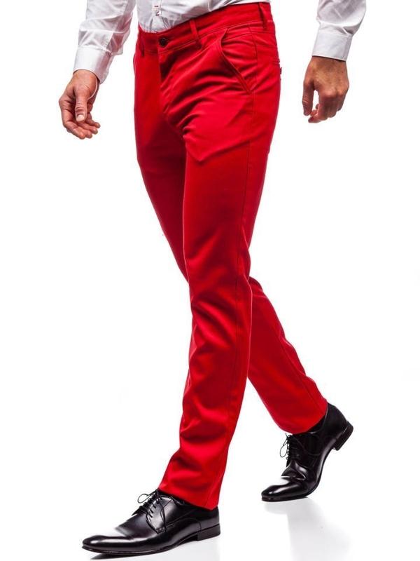 Červené pánske spoločenské nohavice BOLF 3149