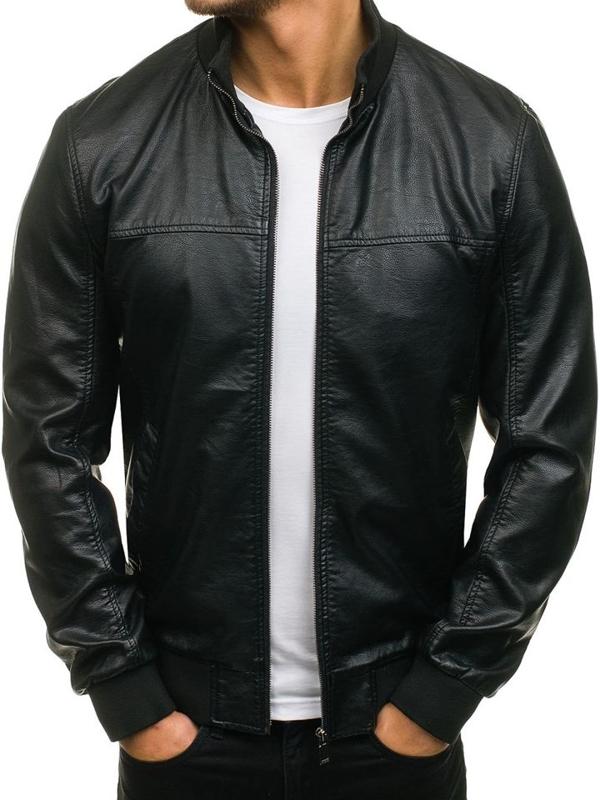 Čierna pánska bunda z ekokože BOLF 8006