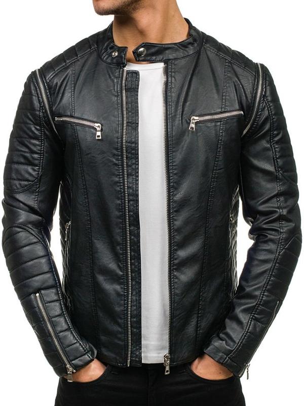 Čierna pánska bunda z ekokože BOLF 9188