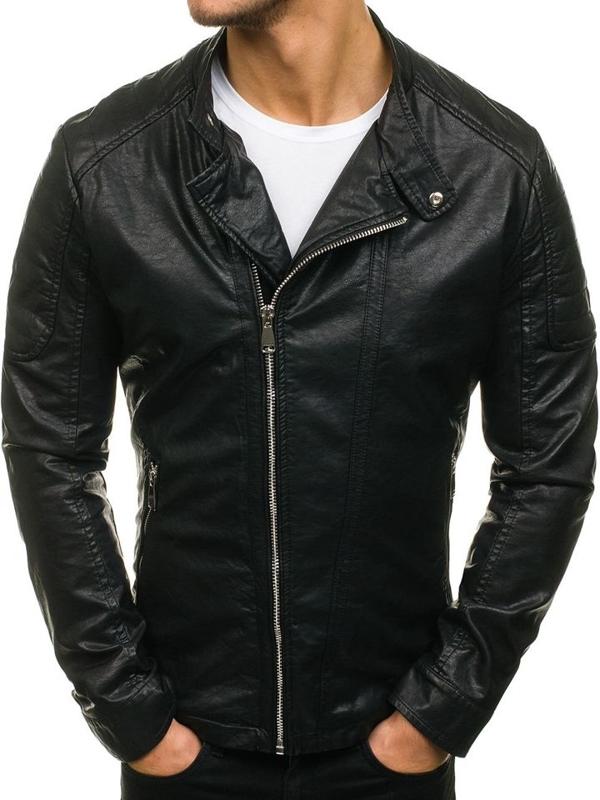 Čierna pánska bunda z ekokože BOLF D003