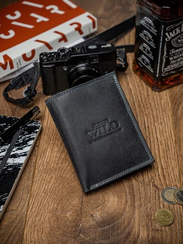 Čierna pánska kožená peňaženka  2051