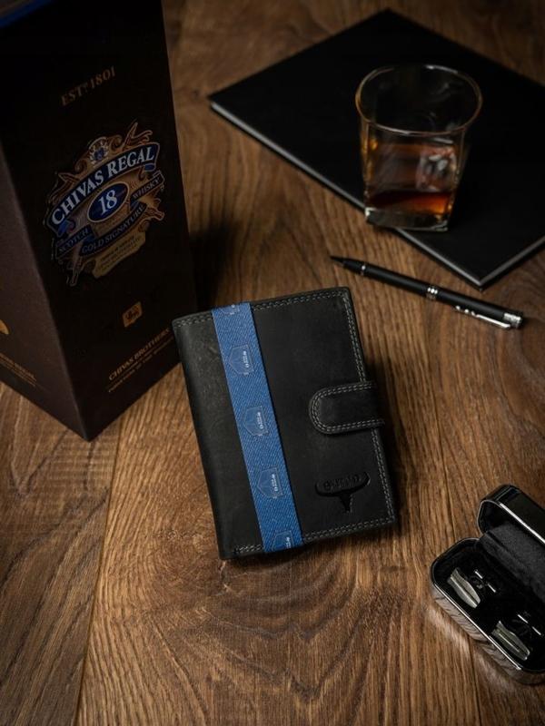 Čierna pánska kožená peňaženka 2225