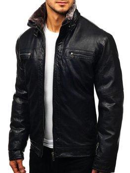Čierna pánska koženková bunda BOLF EX836