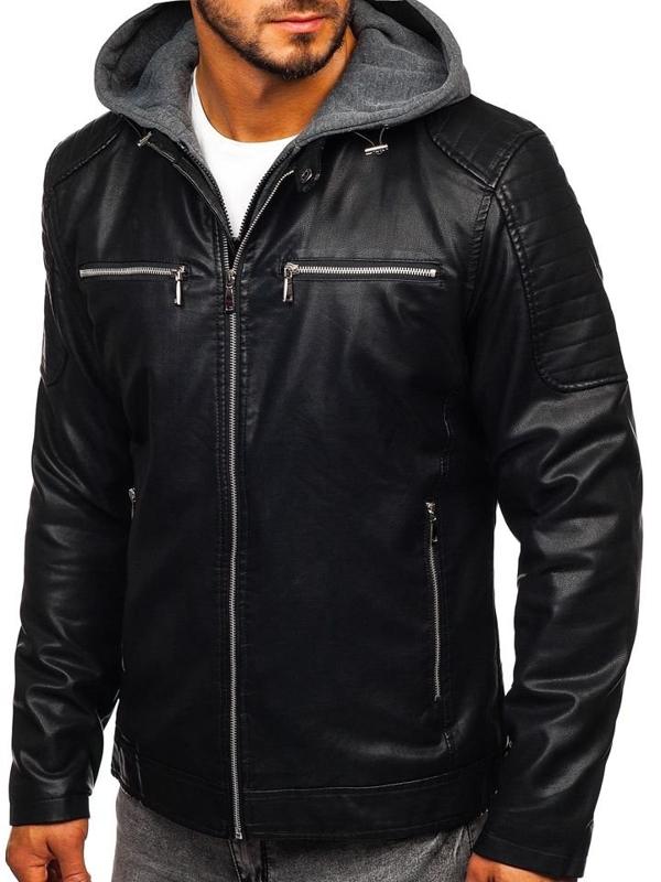 Čierna pánska koženková bunda Bolf 1106