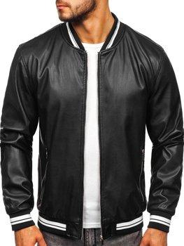 Čierna pánska koženková bunda Bolf  1132