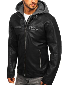 Čierna pánska koženková bunda s kapucňou Bolf  1127
