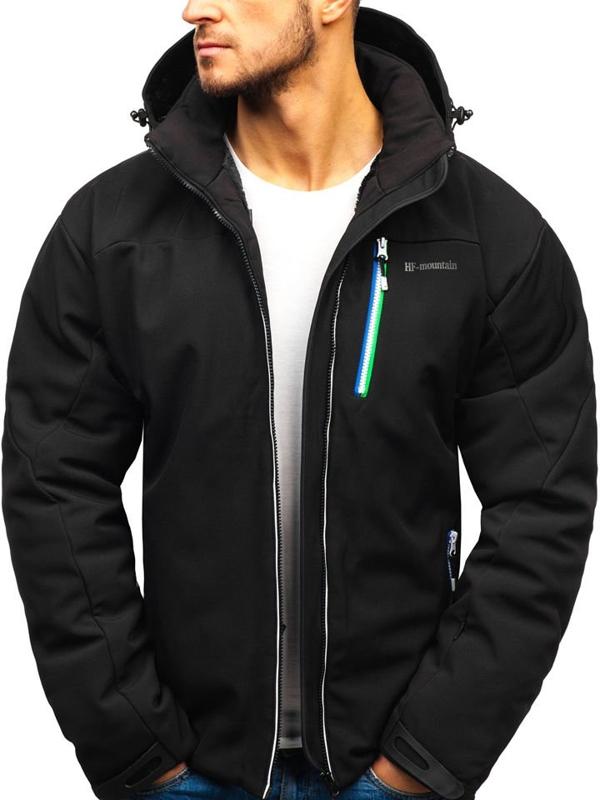 Čierna pánska lyžiarska bunda BOLF 1521