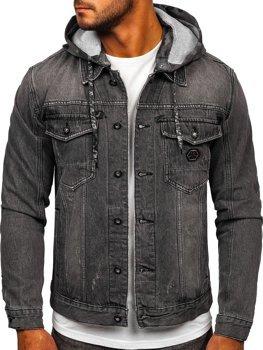 Čierna pánska rifľová bunda s kapucňou Bolf RB9860-1