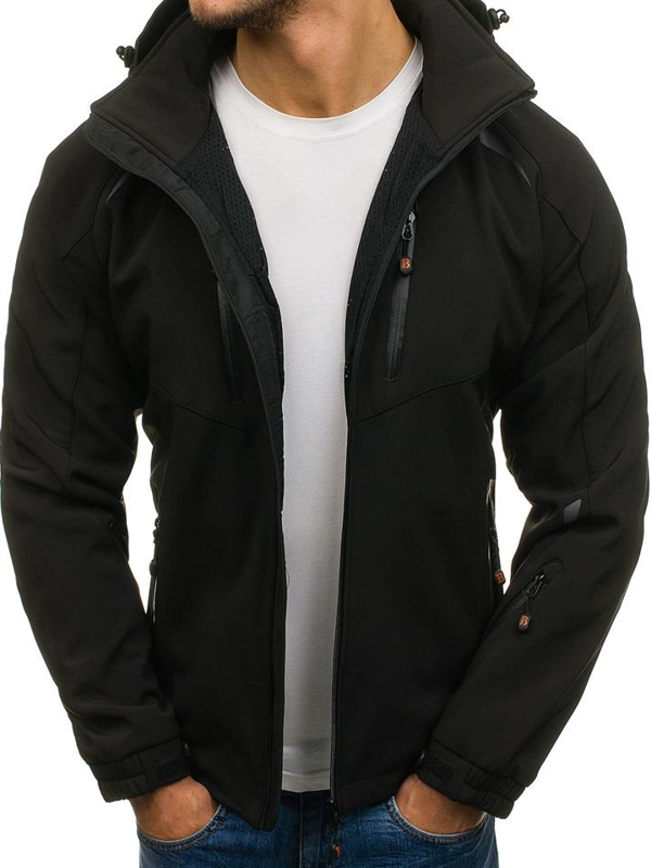 Čierna pánska sofshellová prechodná bunda BOLF 6601