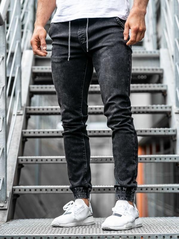 Čierne pánske rifľové joggery Bolf  KA1087