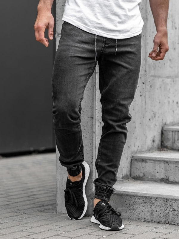 Čierne pánske rifľové joggery Bolf  KA1095