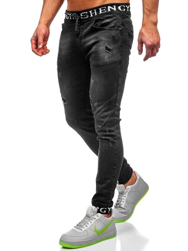 Čierne pánske rifľové joggery Bolf KA1857