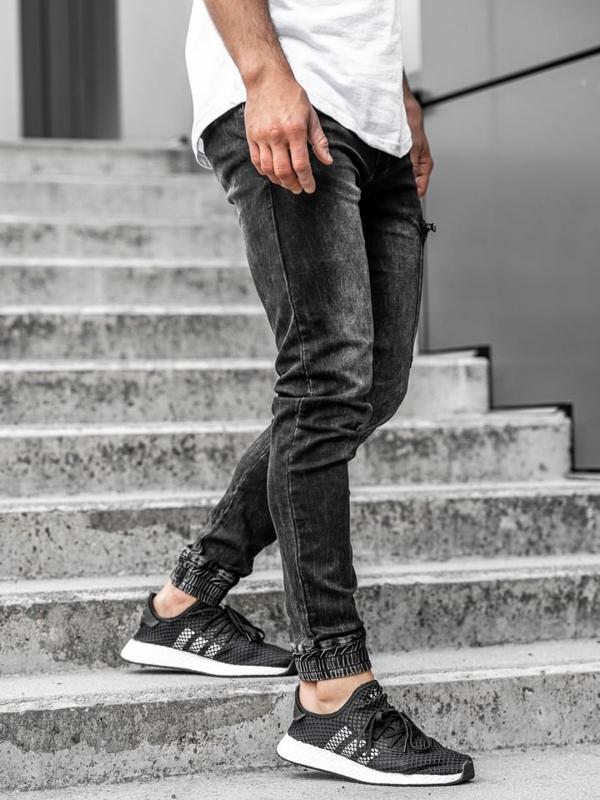 Čierne pánske rifľové joggery Bolf  KA739