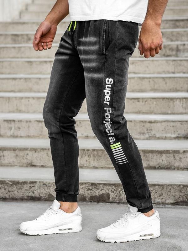 Čierne pánske rifľové joggery Bolf KK1100