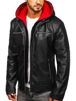 Čierno-červená pánska koženková bunda s kapucňou Bolf 6131