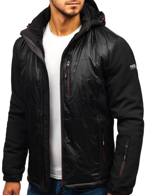 Čierno-červená pánska softshellová bunda BOLF 5633