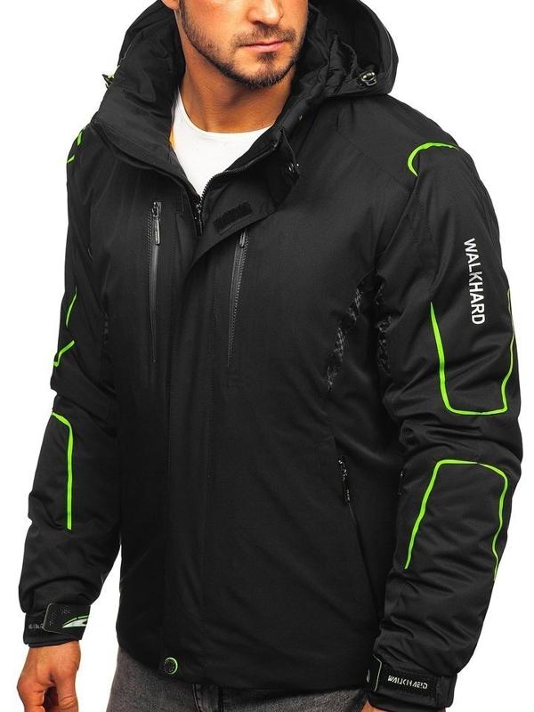 Čierno-zelená pánska lyžiarská zimná bunda   Bolf A5625
