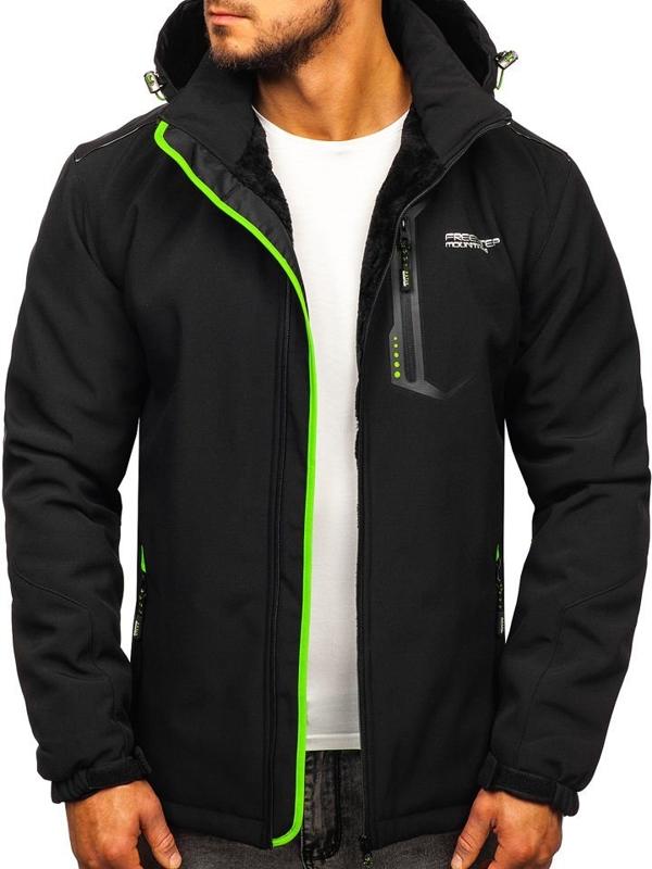 Čierno-zelená pánska zateplená softshellová bunda Bolf BK155